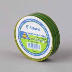 Isoleerteip 15mmx10m, 120µm, kollane/roheline, PVC