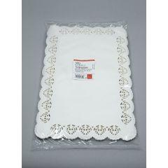 White paper square lace doily 250x380mm, 100pcs/pack