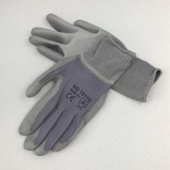 Gray nailon work gloves PU palm coated nr 8, 12pairs/pack