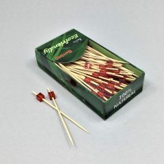 Red cube bamboo snack picks 90mm, 100pcs/pack