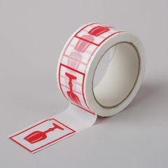 Pakketeip hoiatusmärgisega Glass Red 48mmx66m, valge, PP